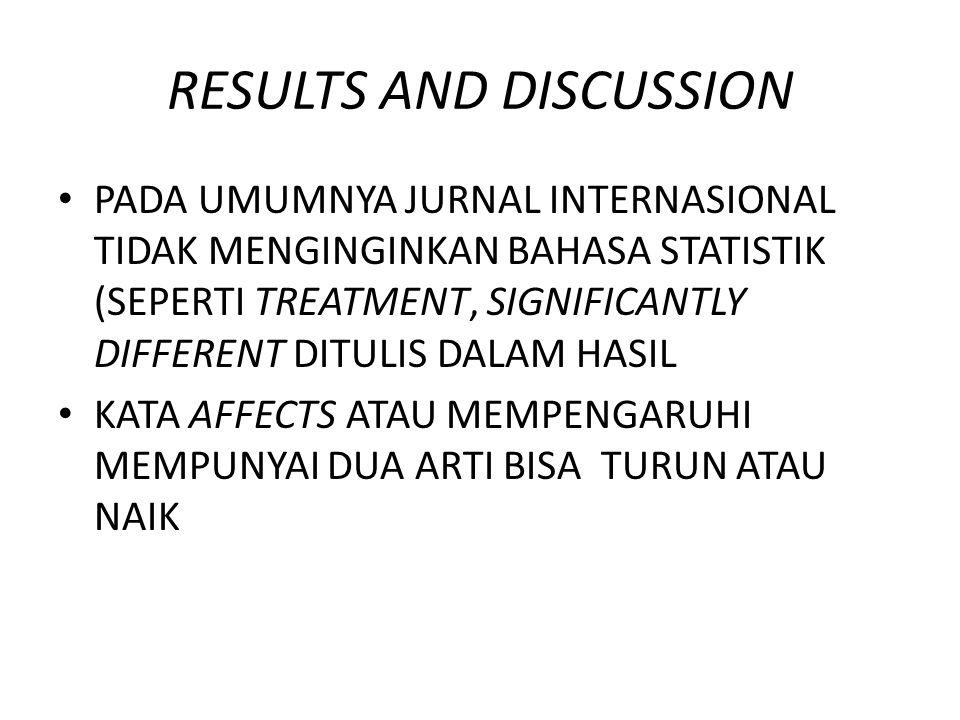 RESULTS AND DISCUSSION PADA UMUMNYA JURNAL INTERNASIONAL TIDAK MENGINGINKAN BAHASA STATISTIK (SEPERTI TREATMENT, SIGNIFICANTLY DIFFERENT DITULIS DALAM
