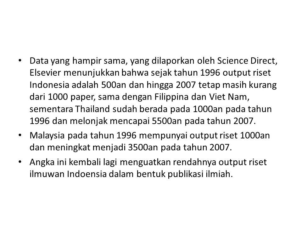 Data yang hampir sama, yang dilaporkan oleh Science Direct, Elsevier menunjukkan bahwa sejak tahun 1996 output riset Indonesia adalah 500an dan hingga