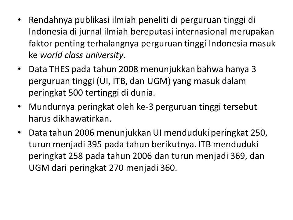 Rendahnya publikasi ilmiah peneliti di perguruan tinggi di Indonesia di jurnal ilmiah bereputasi internasional merupakan faktor penting terhalangnya p