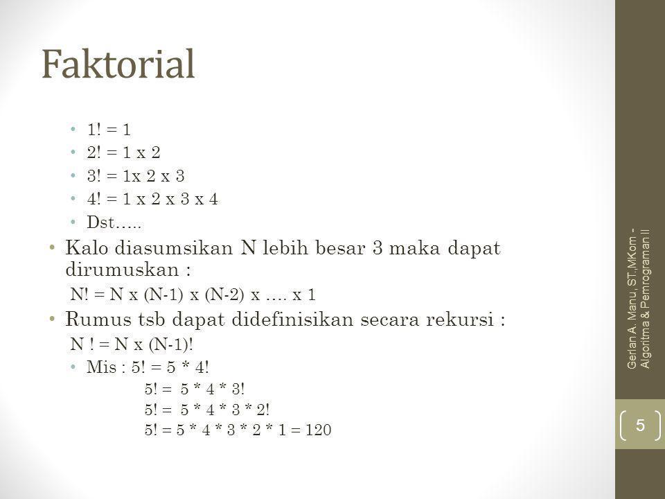 Faktorial 1. = 1 2. = 1 x 2 3. = 1x 2 x 3 4. = 1 x 2 x 3 x 4 Dst…..