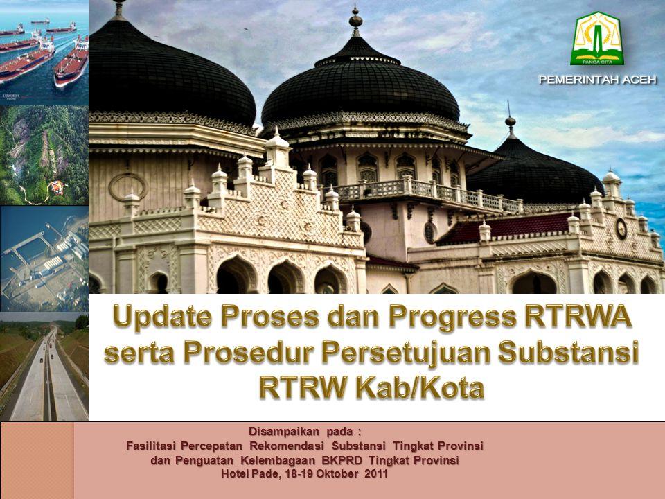 MAKSUD, TUJUAN, dan PERMASALAHAN Maksud : Menyampaikan sejauh mana proses penataan ruang di Aceh Percepatan Penyusunan RTRW Aceh dan Kabupaten/Kota Tujuan : Menyelesaikan RTRW Aceh dan RTRW Kabupaten/Kota Tahun pada akhir tahun 2011.