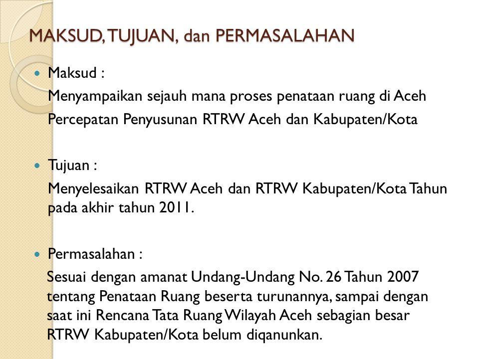 MAKSUD, TUJUAN, dan PERMASALAHAN Maksud : Menyampaikan sejauh mana proses penataan ruang di Aceh Percepatan Penyusunan RTRW Aceh dan Kabupaten/Kota Tu