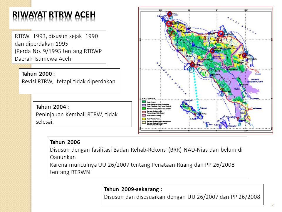 RTRW 1993, disusun sejak 1990 dan diperdakan 1995 (Perda No. 9/1995 tentang RTRWP Daerah Istimewa Aceh Tahun 2000 : Revisi RTRW, tetapi tidak diperdak