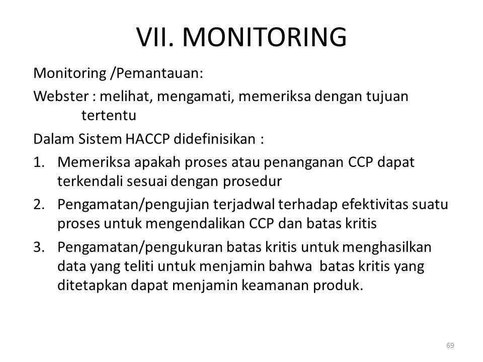 VII. MONITORING Monitoring /Pemantauan: Webster : melihat, mengamati, memeriksa dengan tujuan tertentu Dalam Sistem HACCP didefinisikan : 1.Memeriksa
