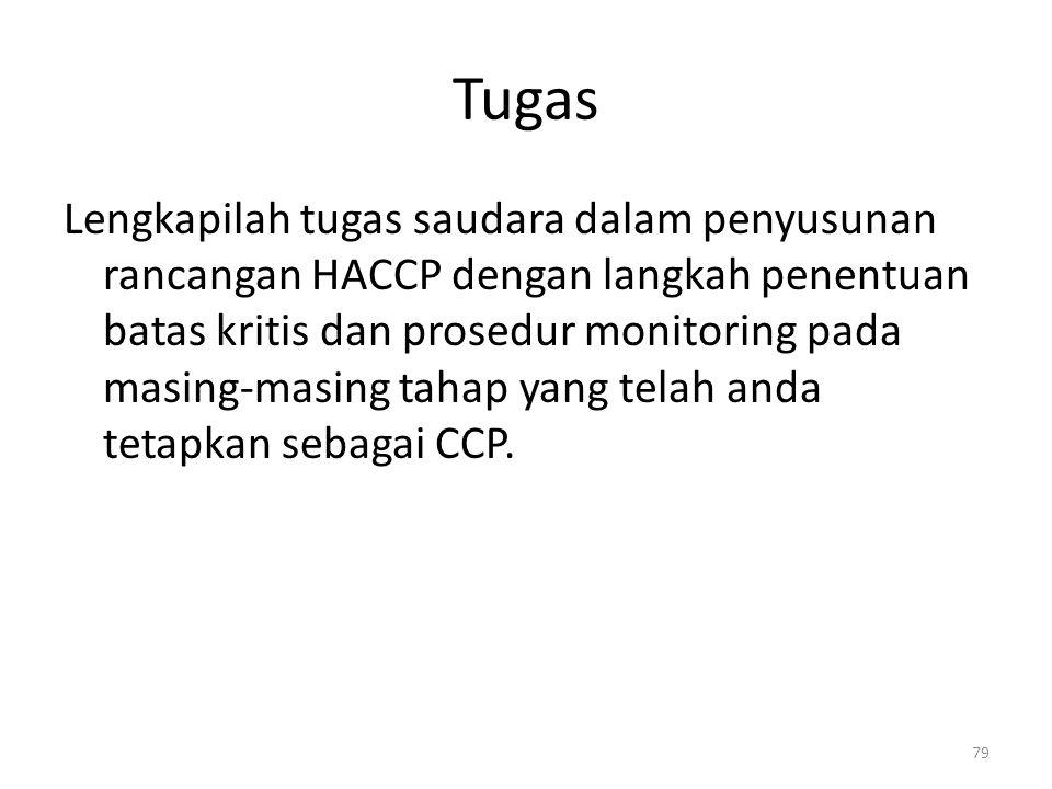 Tugas Lengkapilah tugas saudara dalam penyusunan rancangan HACCP dengan langkah penentuan batas kritis dan prosedur monitoring pada masing-masing taha
