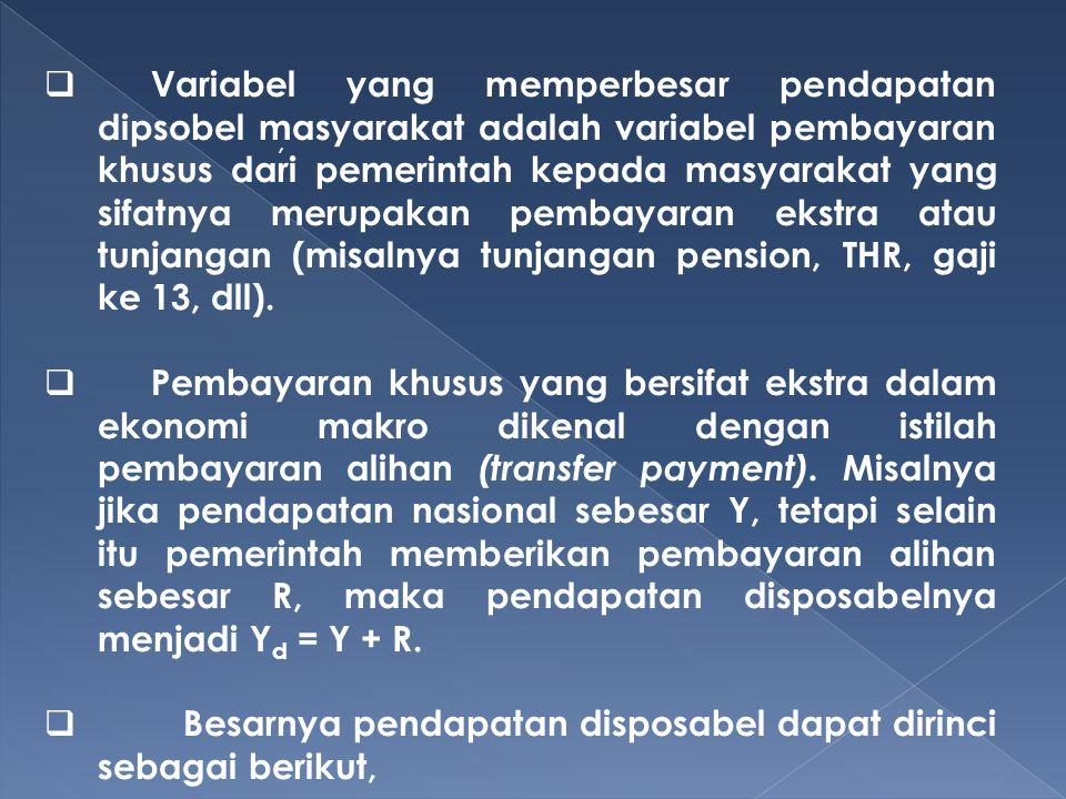 ,  Variabel yang memperbesar pendapatan dipsobel masyarakat adalah variabel pembayaran khusus dari pemerintah kepada masyarakat yang sifatnya merupak