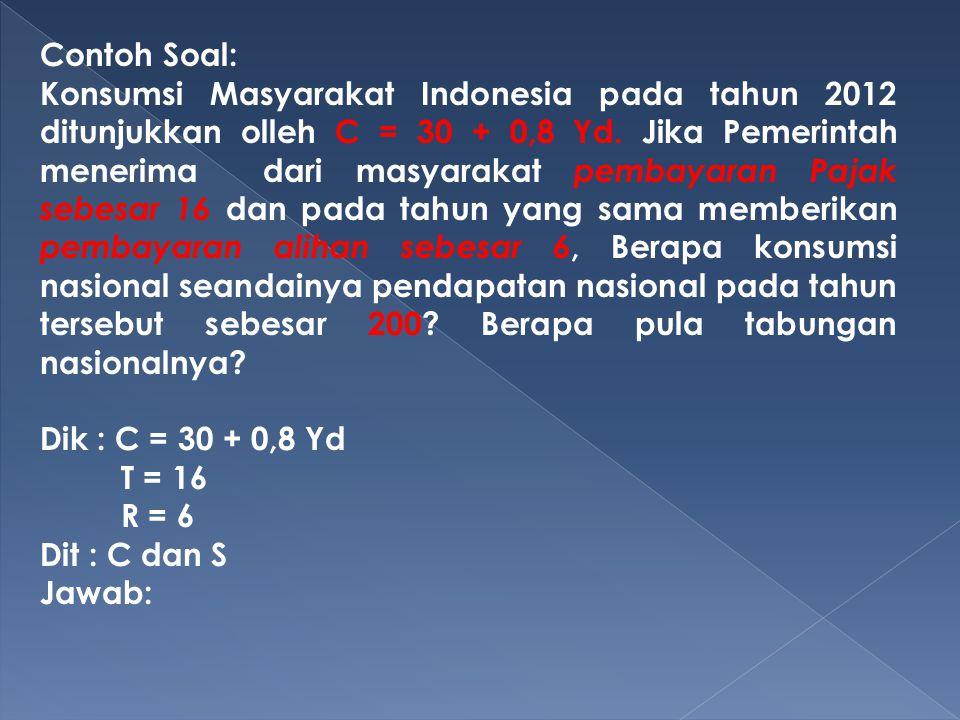 Contoh Soal: Konsumsi Masyarakat Indonesia pada tahun 2012 ditunjukkan olleh C = 30 + 0,8 Yd. Jika Pemerintah menerima dari masyarakat pembayaran Paja