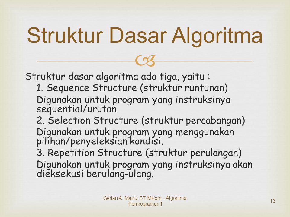  Struktur dasar algoritma ada tiga, yaitu : 1. Sequence Structure (struktur runtunan) Digunakan untuk program yang instruksinya sequential/urutan. 2.
