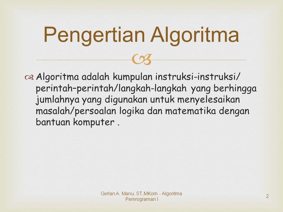   Algoritma adalah kumpulan instruksi-instruksi/ perintah–perintah/langkah-langkah yang berhingga jumlahnya yang digunakan untuk menyelesaikan masal