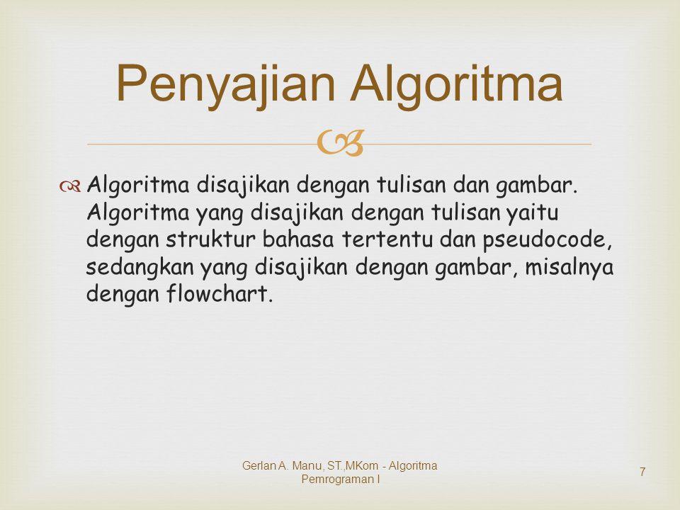   Algoritma disajikan dengan tulisan dan gambar. Algoritma yang disajikan dengan tulisan yaitu dengan struktur bahasa tertentu dan pseudocode, sedan