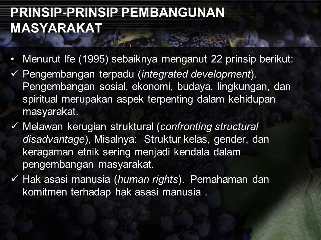 PRINSIP-PRINSIP PEMBANGUNAN MASYARAKAT Menurut Ife (1995) sebaiknya menganut 22 prinsip berikut: Pengembangan terpadu (integrated development). Pengem