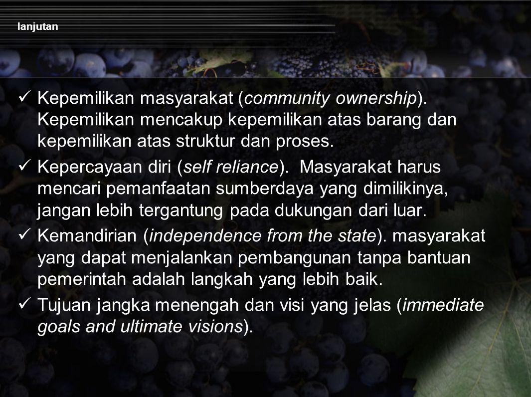 lanjutan Kepemilikan masyarakat (community ownership).