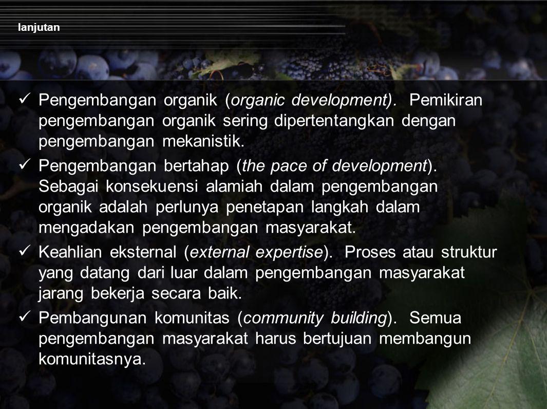 lanjutan Pengembangan organik (organic development). Pemikiran pengembangan organik sering dipertentangkan dengan pengembangan mekanistik. Pengembanga
