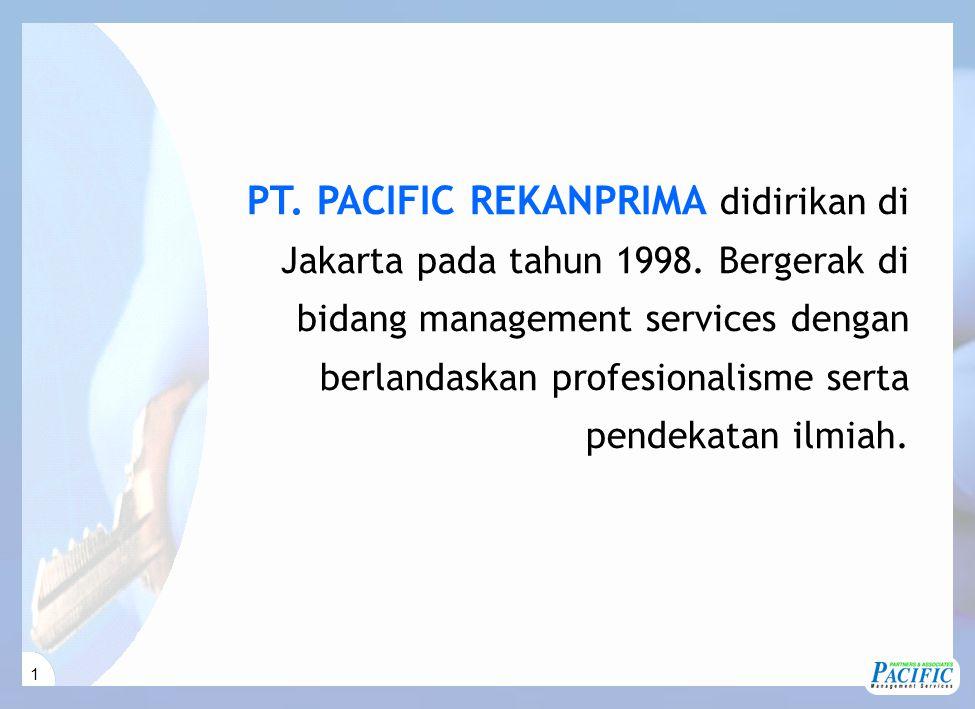 1 PT. PACIFIC REKANPRIMA didirikan di Jakarta pada tahun 1998. Bergerak di bidang management services dengan berlandaskan profesionalisme serta pendek