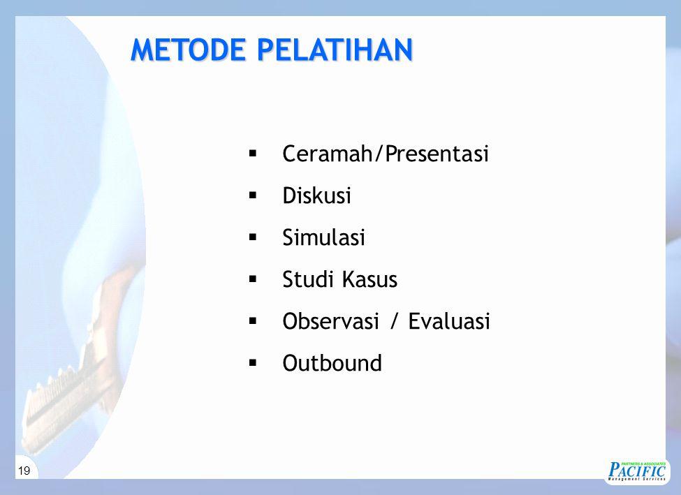 19  Ceramah/Presentasi  Diskusi  Simulasi  Studi Kasus  Observasi / Evaluasi  Outbound METODE PELATIHAN