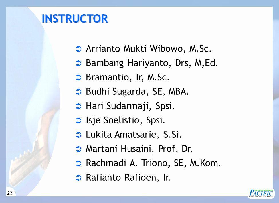 23  Arrianto Mukti Wibowo, M.Sc.  Bambang Hariyanto, Drs, M,Ed.  Bramantio, Ir, M.Sc.  Budhi Sugarda, SE, MBA.  Hari Sudarmaji, Spsi.  Isje Soel