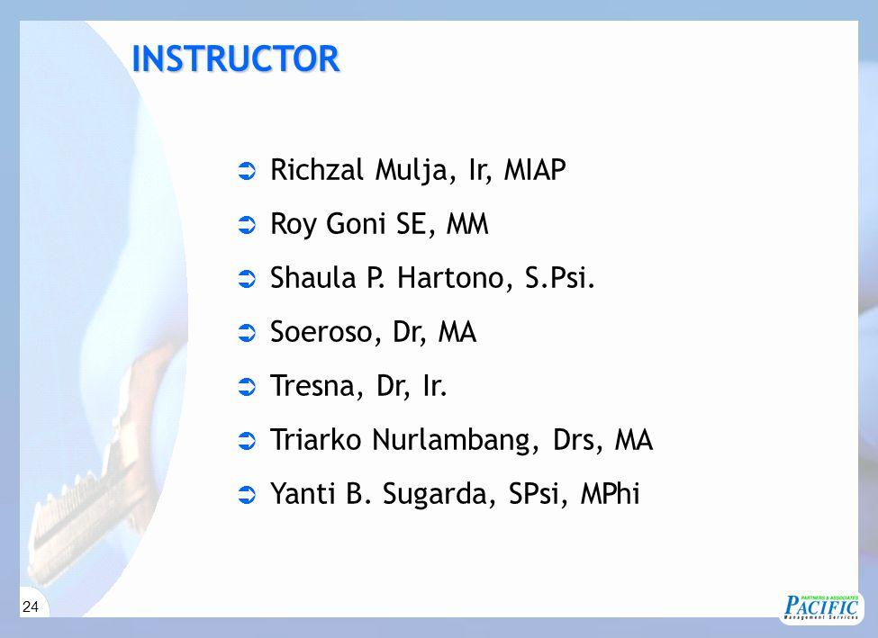 24  Richzal Mulja, Ir, MIAP  Roy Goni SE, MM  Shaula P. Hartono, S.Psi.  Soeroso, Dr, MA  Tresna, Dr, Ir.  Triarko Nurlambang, Drs, MA  Yanti B