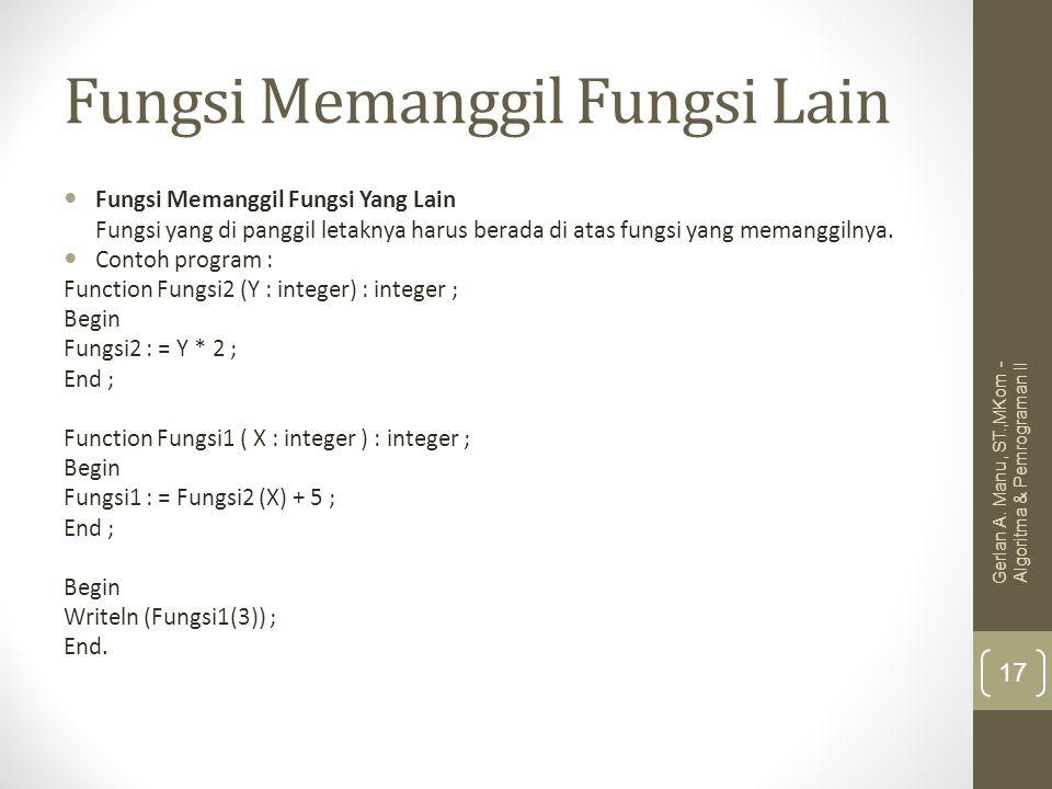 Fungsi Memanggil Fungsi Lain Fungsi Memanggil Fungsi Yang Lain Fungsi yang di panggil letaknya harus berada di atas fungsi yang memanggilnya. Contoh p
