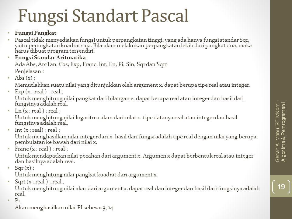 Fungsi Standart Pascal Fungsi Pangkat Pascal tidak menyediakan fungsi untuk perpangkatan tinggi, yang ada hanya fungsi standar Sqr, yaitu pemngkatan k