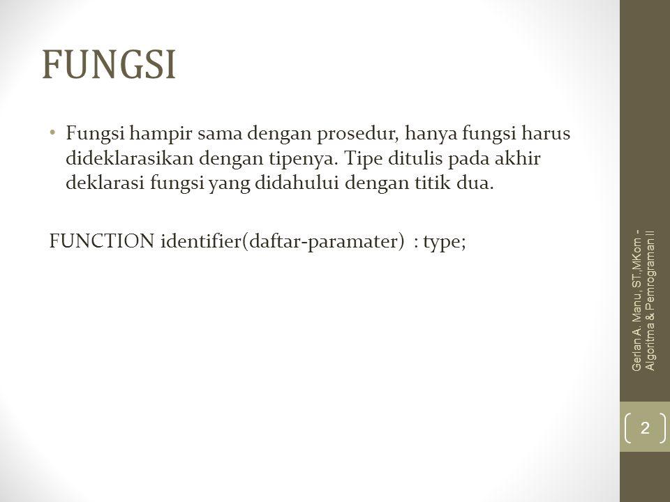 FUNGSI Fungsi hampir sama dengan prosedur, hanya fungsi harus dideklarasikan dengan tipenya. Tipe ditulis pada akhir deklarasi fungsi yang didahului d