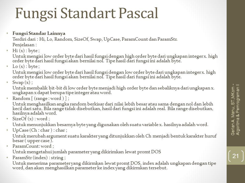 Fungsi Standart Pascal Fungsi Standar Lainnya Terdiri dari : Hi, Lo, Random, SizeOf, Swap, UpCase, ParamCount dan ParamStr. Penjelasan : Hi (x) : byte