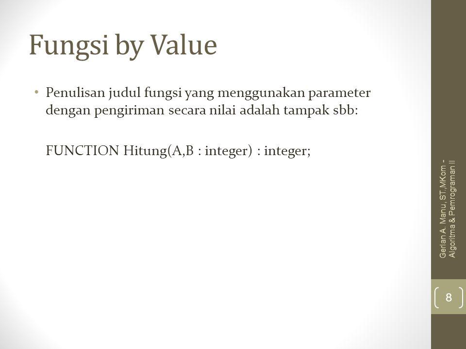 Fungsi by Value Penulisan judul fungsi yang menggunakan parameter dengan pengiriman secara nilai adalah tampak sbb: FUNCTION Hitung(A,B : integer) : i
