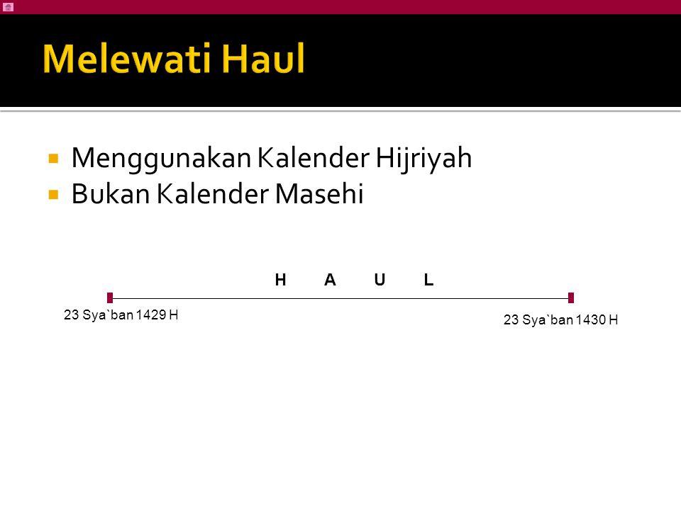 Menggunakan Kalender Hijriyah  Bukan Kalender Masehi 23 Sya`ban 1429 H 23 Sya`ban 1430 H H A U L