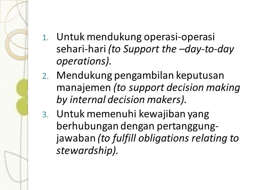 1. Untuk mendukung operasi-operasi sehari-hari (to Support the –day-to-day operations). 2. Mendukung pengambilan keputusan manajemen (to support decis