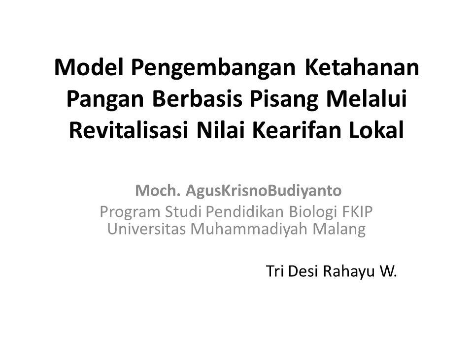 Abstrak Penelitian ini bertujuan untuk menemukan Model Pengembangan Ketahanan Pangan Berbasis Pisang dengan Revitalisasi Nilai Kearifan Lokal .