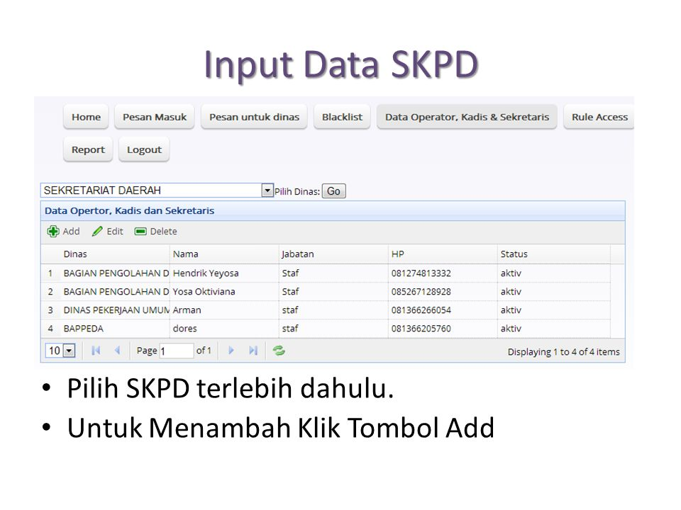 Input Data SKPD Pilih SKPD terlebih dahulu. Untuk Menambah Klik Tombol Add