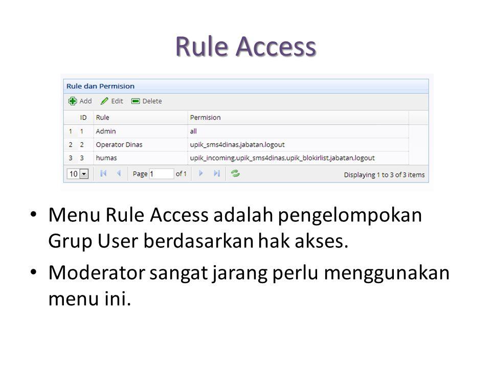 Rule Access Menu Rule Access adalah pengelompokan Grup User berdasarkan hak akses. Moderator sangat jarang perlu menggunakan menu ini.