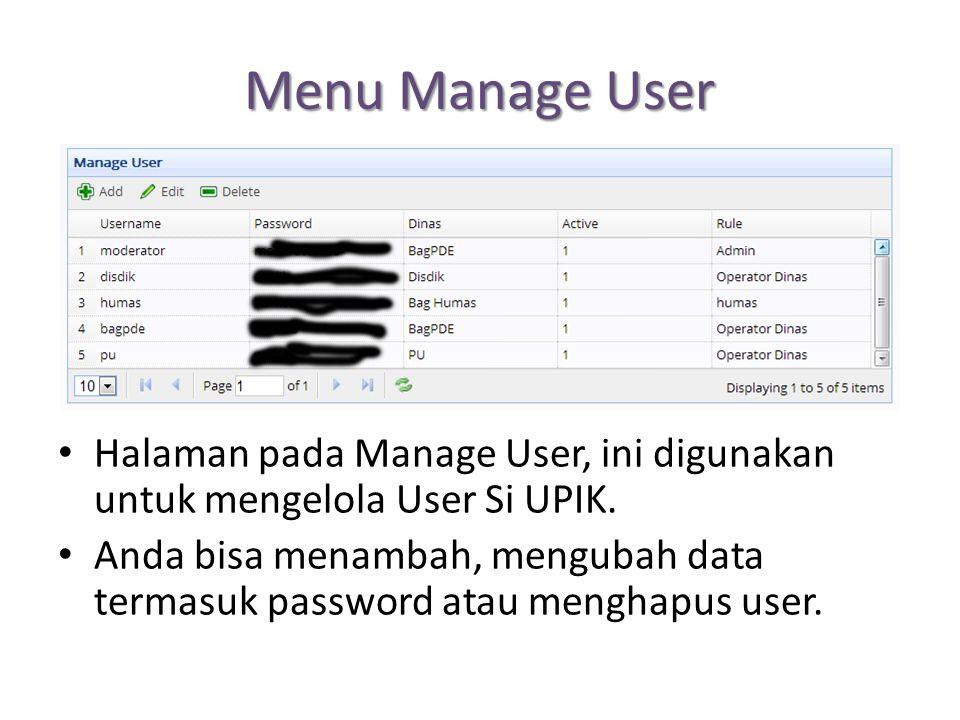 Menu Manage User Halaman pada Manage User, ini digunakan untuk mengelola User Si UPIK. Anda bisa menambah, mengubah data termasuk password atau mengha