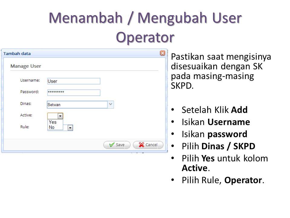 Menambah / Mengubah User Operator Pastikan saat mengisinya disesuaikan dengan SK pada masing-masing SKPD. Setelah Klik Add Isikan Username Isikan pass