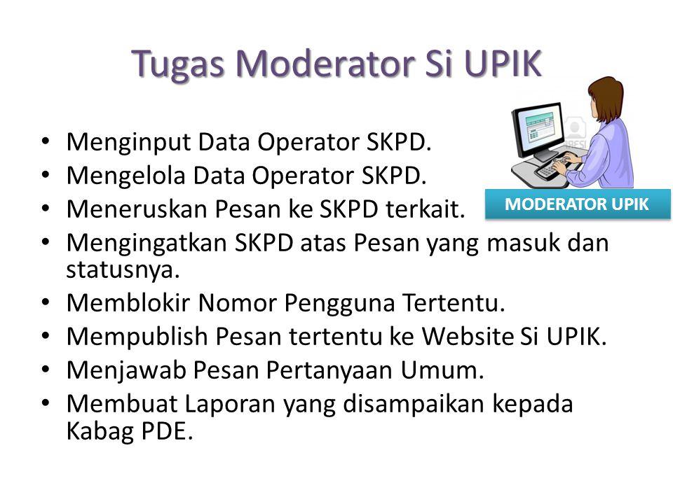 Tugas Moderator Si UPIK Menginput Data Operator SKPD. Mengelola Data Operator SKPD. Meneruskan Pesan ke SKPD terkait. Mengingatkan SKPD atas Pesan yan