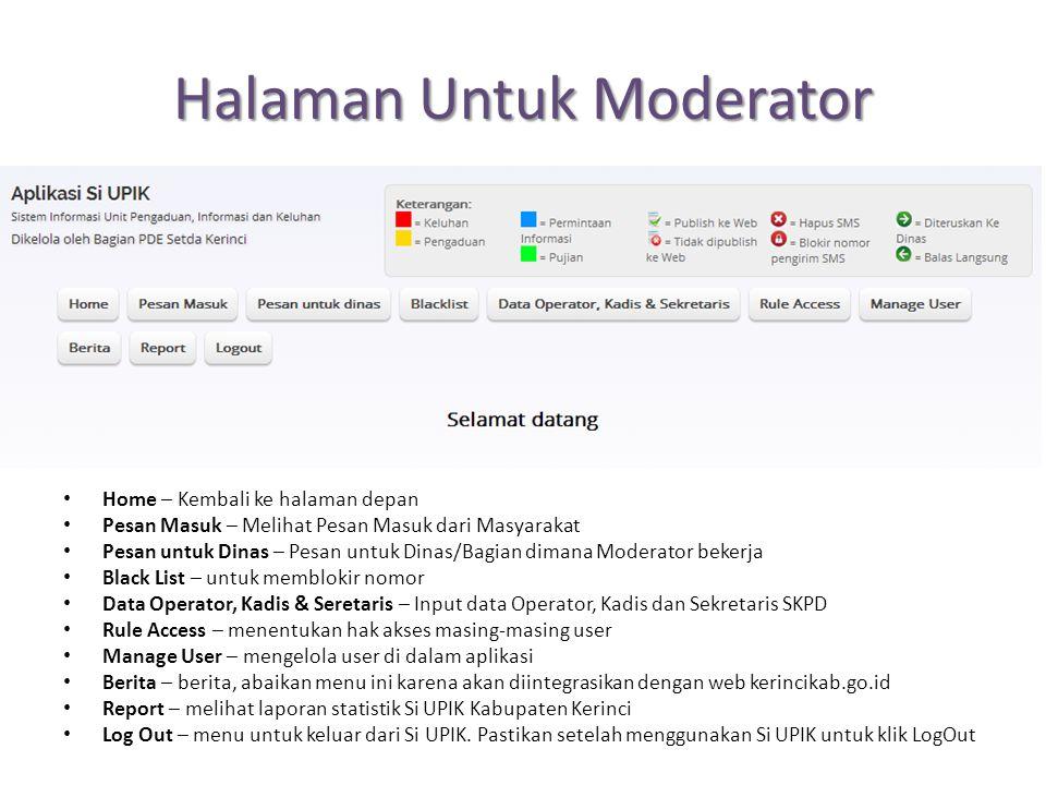 Halaman Untuk Moderator Home – Kembali ke halaman depan Pesan Masuk – Melihat Pesan Masuk dari Masyarakat Pesan untuk Dinas – Pesan untuk Dinas/Bagian