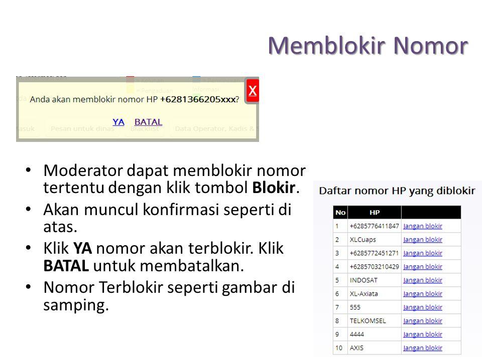 Memblokir Nomor Moderator dapat memblokir nomor tertentu dengan klik tombol Blokir. Akan muncul konfirmasi seperti di atas. Klik YA nomor akan terblok
