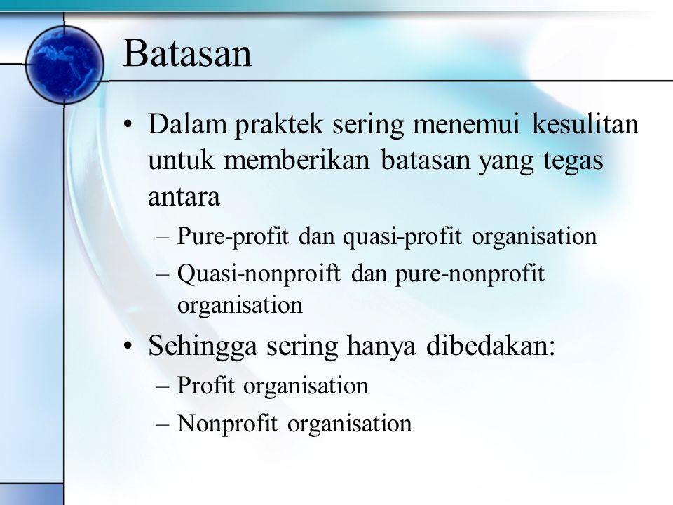 Batasan Dalam praktek sering menemui kesulitan untuk memberikan batasan yang tegas antara –Pure-profit dan quasi-profit organisation –Quasi-nonproift