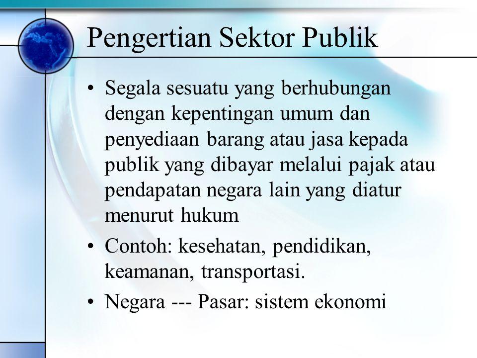 Pengertian Sektor Publik Segala sesuatu yang berhubungan dengan kepentingan umum dan penyediaan barang atau jasa kepada publik yang dibayar melalui pa