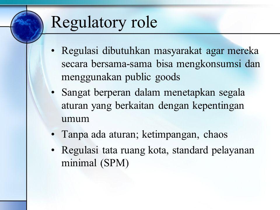Regulatory role Regulasi dibutuhkan masyarakat agar mereka secara bersama-sama bisa mengkonsumsi dan menggunakan public goods Sangat berperan dalam me