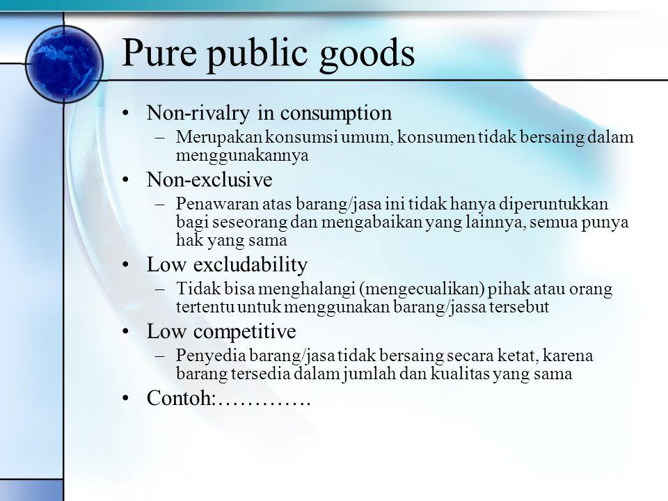 Pure public goods Non-rivalry in consumption –Merupakan konsumsi umum, konsumen tidak bersaing dalam menggunakannya Non-exclusive –Penawaran atas bara