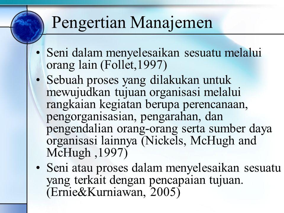 Pengertian Manajemen Seni dalam menyelesaikan sesuatu melalui orang lain (Follet,1997) Sebuah proses yang dilakukan untuk mewujudkan tujuan organisasi