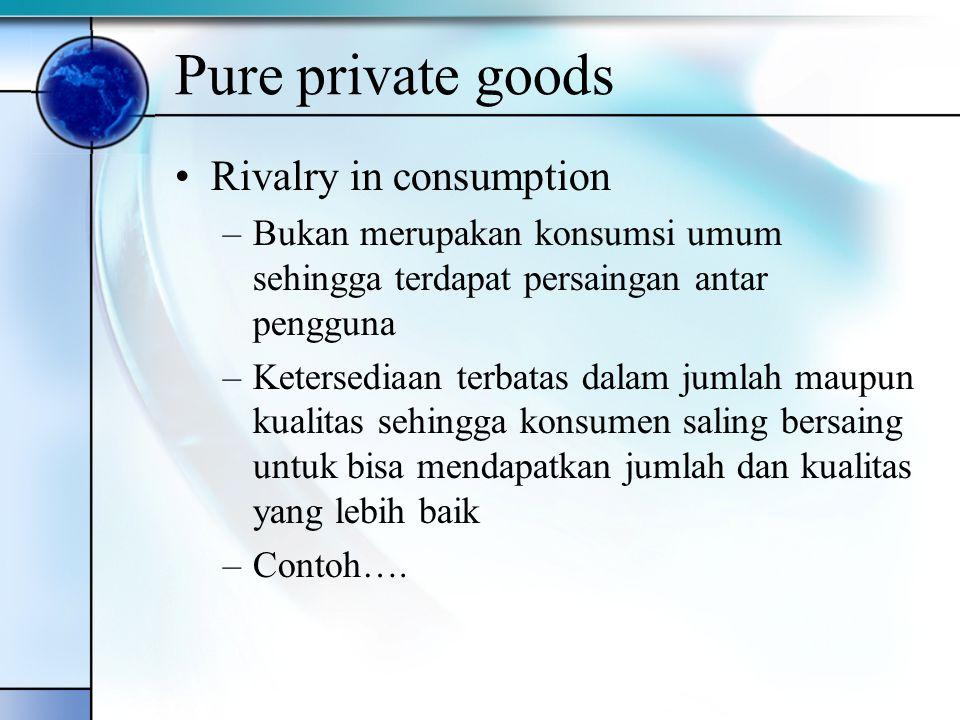 Pure private goods Rivalry in consumption –Bukan merupakan konsumsi umum sehingga terdapat persaingan antar pengguna –Ketersediaan terbatas dalam juml