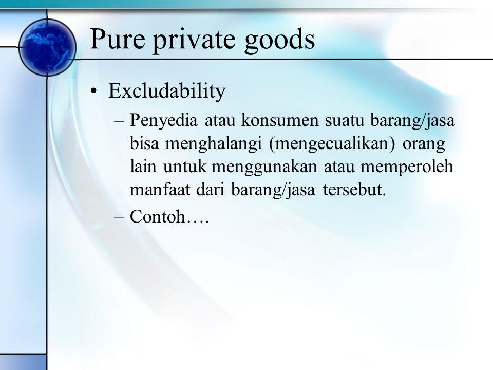 Pure private goods Excludability –Penyedia atau konsumen suatu barang/jasa bisa menghalangi (mengecualikan) orang lain untuk menggunakan atau memperol