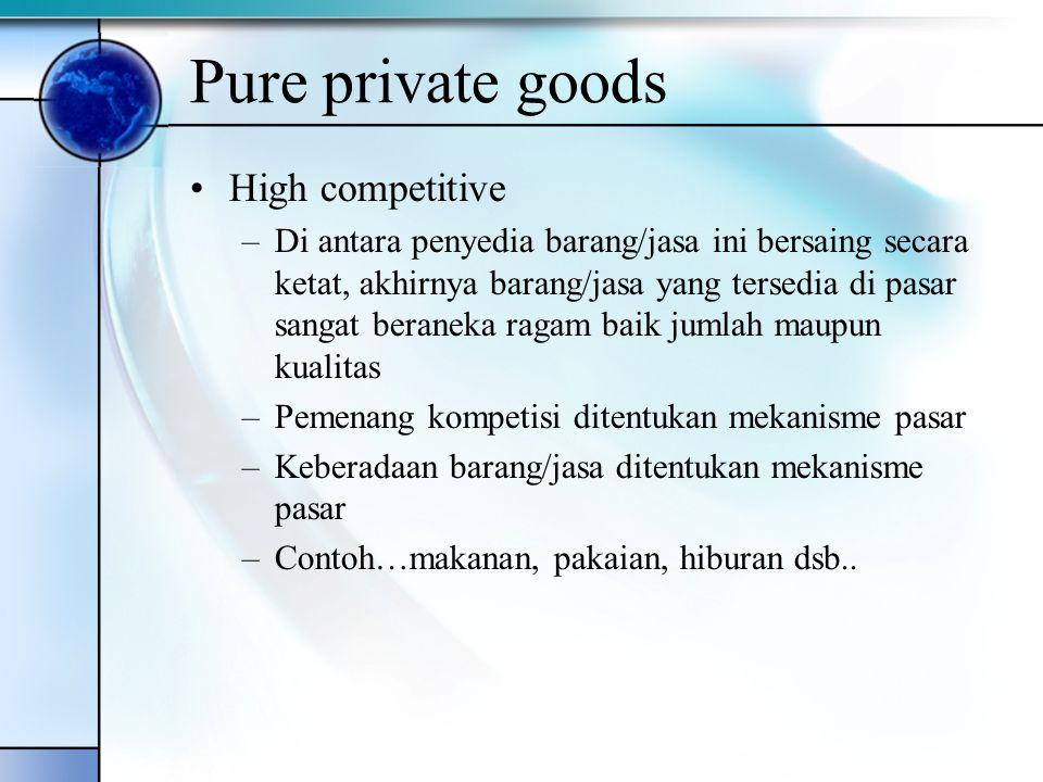 Pure private goods High competitive –Di antara penyedia barang/jasa ini bersaing secara ketat, akhirnya barang/jasa yang tersedia di pasar sangat bera