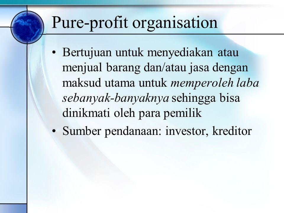 Quasi-profit organisation Bertujuan menyediakan barang dan/atau jasa dengan maksud untuk meperoleh laba dan mencapai sasaran atau tujuan lainnya sebagaimana yang dikehendaki para pemilik Sumber pendanaan: investor swasta, investor pemerintah, kreditor, anggota