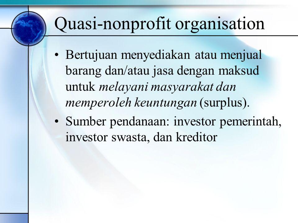 Pure-nonprofit organisation Bertujuan menyediakan atau menjual barang dan/atau jasa dengan maksud untuk melayani dan meningkatkan kesejahteraan masyarakat Sumber pendanaan: pajak, retribusi, utang, obligasi, laba BUMN/BUMD, penjualan aset negara