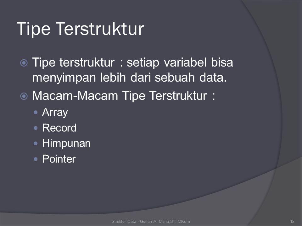Contoh Deklarasi Array Type Skala = 1..10; Var Nilai : Array [skala] of Integer; Type Skala = 1..10; Y = Array[skala] of Integer; Var Nilai : Y; Type Y = Array[1..10] of Integer; Var Nilai : Y; Const Atas =1; Bawah = 5; Type Y = Array[Atas..Bawah] of Integer; Var Nilai : Y; Struktur Data - Gerlan A.