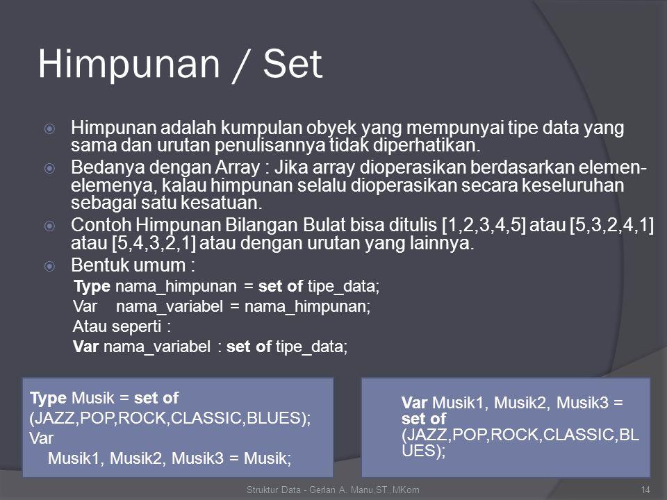 Himpunan / Set  Himpunan adalah kumpulan obyek yang mempunyai tipe data yang sama dan urutan penulisannya tidak diperhatikan.