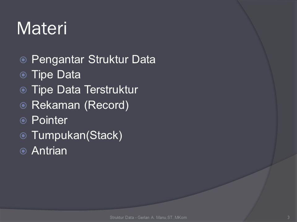 Materi  Pengantar Struktur Data  Tipe Data  Tipe Data Terstruktur  Rekaman (Record)  Pointer  Tumpukan(Stack)  Antrian Struktur Data - Gerlan A.