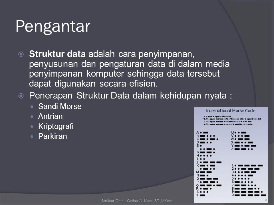 Pengantar  Struktur data adalah cara penyimpanan, penyusunan dan pengaturan data di dalam media penyimpanan komputer sehingga data tersebut dapat digunakan secara efisien.
